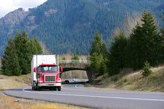 Röd lastbil med den vita släpet som är främst av bron Arkivbild