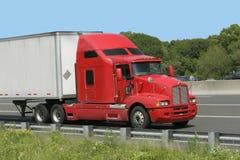 röd lastbilwhite Arkivbild