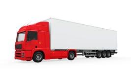Röd lastleveranslastbil Royaltyfri Foto