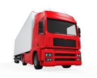 Röd lastleveranslastbil Arkivbilder