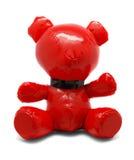 Röd latexleksakbjörn som isoleras på vit bakgrund Arkivbilder