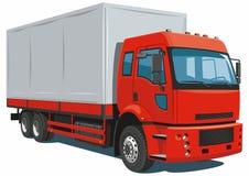 Röd leveranslastbil Arkivfoton