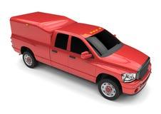 Röd leveranslastbil för kommersiellt medel med en dubbel taxi och en skåpbil royaltyfri illustrationer