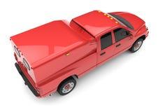 Röd leveranslastbil för kommersiellt medel med en dubbel taxi och en skåpbil vektor illustrationer