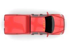 Röd leveranslastbil för kommersiellt medel med en dubbel taxi och en skåpbil stock illustrationer