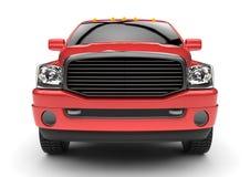 Röd leveranslastbil för kommersiellt medel med en dubbel taxi och en skåpbil Maskinen utan gradbeteckning med ett rent tömmer kro royaltyfri illustrationer