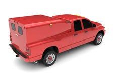 Röd leveranslastbil för kommersiellt medel med en dubbel taxi och en skåpbil Maskinen utan gradbeteckning med ett rent tömmer kro stock illustrationer