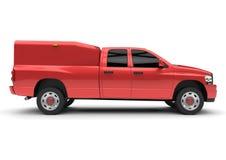Röd leveranslastbil för kommersiellt medel med en dubbel taxi och en skåpbil Maskinen utan gradbeteckning med ett rent tömmer kro vektor illustrationer
