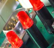 Röd ljusdiod av ett strömkretsbräde Arkivbilder