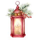 Röd lykta för vattenfärgjul med dekoren Handen målade lampan, stearinljuset, granfilialen, barberryen, guld- klockor, grankotte o royaltyfri illustrationer