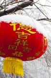 Röd lykta i snö Arkivfoto