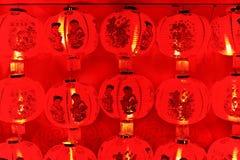 Röd lykta på natten Arkivbilder