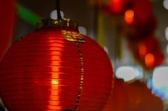 Röd lykta på tillfället av det kinesiska nya året 2017 Fotografering för Bildbyråer