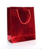 Röd lyxig shoppingpåse Arkivfoton