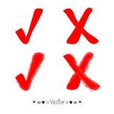 Röd målad fästingsymbol för vektor, illustration EPS10 Royaltyfri Fotografi