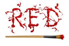 Röd målarfärg målat ordblod Arkivfoto
