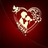 Röd mörk design med konturn av hjärta, pojken och flickan Royaltyfri Bild