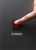 Röd maktströmbrytare fotografering för bildbyråer