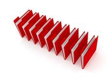 Röd mapp på vit, tolkning 3d Arkivfoton