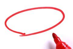 Röd markör med den tomma teckningscirkeln royaltyfri bild