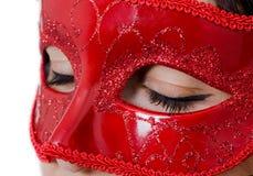 Röd maskering för glamour royaltyfria foton