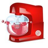 Röd matberedare- eller ställningsblandare, elektrisk utrustning för kök för att laga mat som isoleras på vit bakgrund Vektorteckn royaltyfri illustrationer