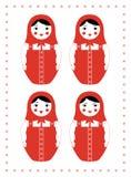 Röd matryoshka fyra sinnesrörelser Arkivfoton
