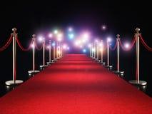 Röd matta och exponering royaltyfri illustrationer