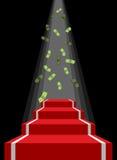 Röd matta och regn av pengar Fallande dollar för vinnare Royaltyfria Bilder
