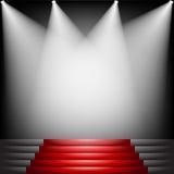 Röd matta och trappa Arkivfoton