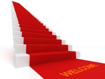 Röd matta på trappan Royaltyfria Bilder