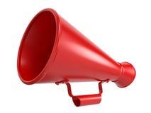 Röd megafon som isoleras på White. Royaltyfria Foton