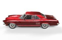 Röd metallisk sidosikt för klassisk amerikanare Arkivfoto