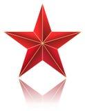 Röd metallisk stjärna stock illustrationer