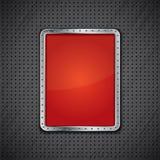 Röd metallpanel på mörk metallisk bakgrund Arkivbild