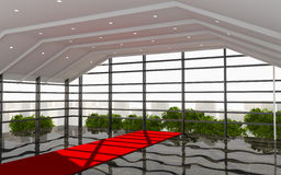 Röd modern korridorkontorsinre Royaltyfria Foton