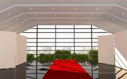 Röd modern korridorkontorsinre Arkivfoto