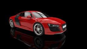 Röd modern snabb bil på svart bakgrund Royaltyfria Foton