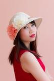 Röd mun för Asien modell Fotografering för Bildbyråer