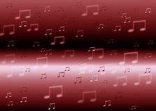 Röd musik noterar bakgrund Royaltyfria Foton