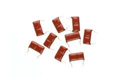 Röd mylar kondensator royaltyfri foto