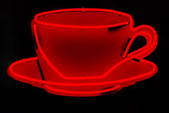 Röd neonkaffekopp Arkivbilder