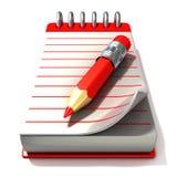 Röd notepad och röd penna, Arkivfoto
