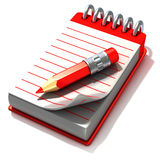 Röd notepad och röd penna Arkivfoto