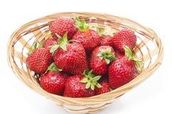 Röd ny jordgubbe i en bunke på vit bakgrund Royaltyfria Foton
