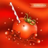 Röd ny tomat med tubulen Fotografering för Bildbyråer