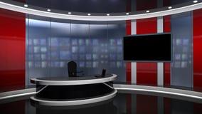 Röd nyheternastudiouppsättning lager videofilmer