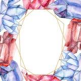 Röd och blå diamantkristallmineral Fyrkant för ramgränsprydnad För polygonkristall för vattenfärg geometrisk sten vektor illustrationer