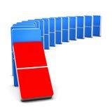 Röd och blå Domino Arkivbilder