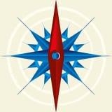 Röd och blå kompass på beige bakgrund Översiktsmaterial vektor illustrationer